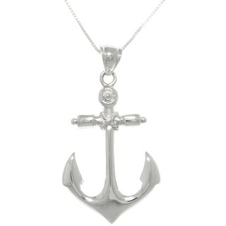 CGC Sterling Silver Nautical Anchor Hope and Protection Pendant on Box Chain Necklace
