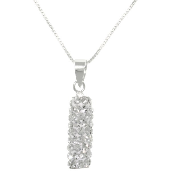 CGC Sterling Silver Crystal Glass Sparkling Rectangular Pendant Necklace