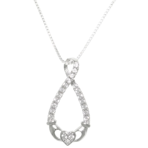 CGC Sterling Silver Pave Cubic Zirconia Infinity Claddagh Pendant Necklace