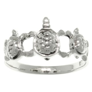 Carolina Glamour Collection Sterling Silver Three Linked Turtles Band Ring