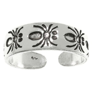 CGC Sterling Silver Cute Spiders Adjustable Toe Ring