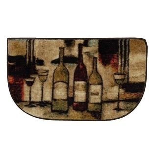Wine And Glasses Brown Slice Kitchen Rug (1'6 x 2'6)