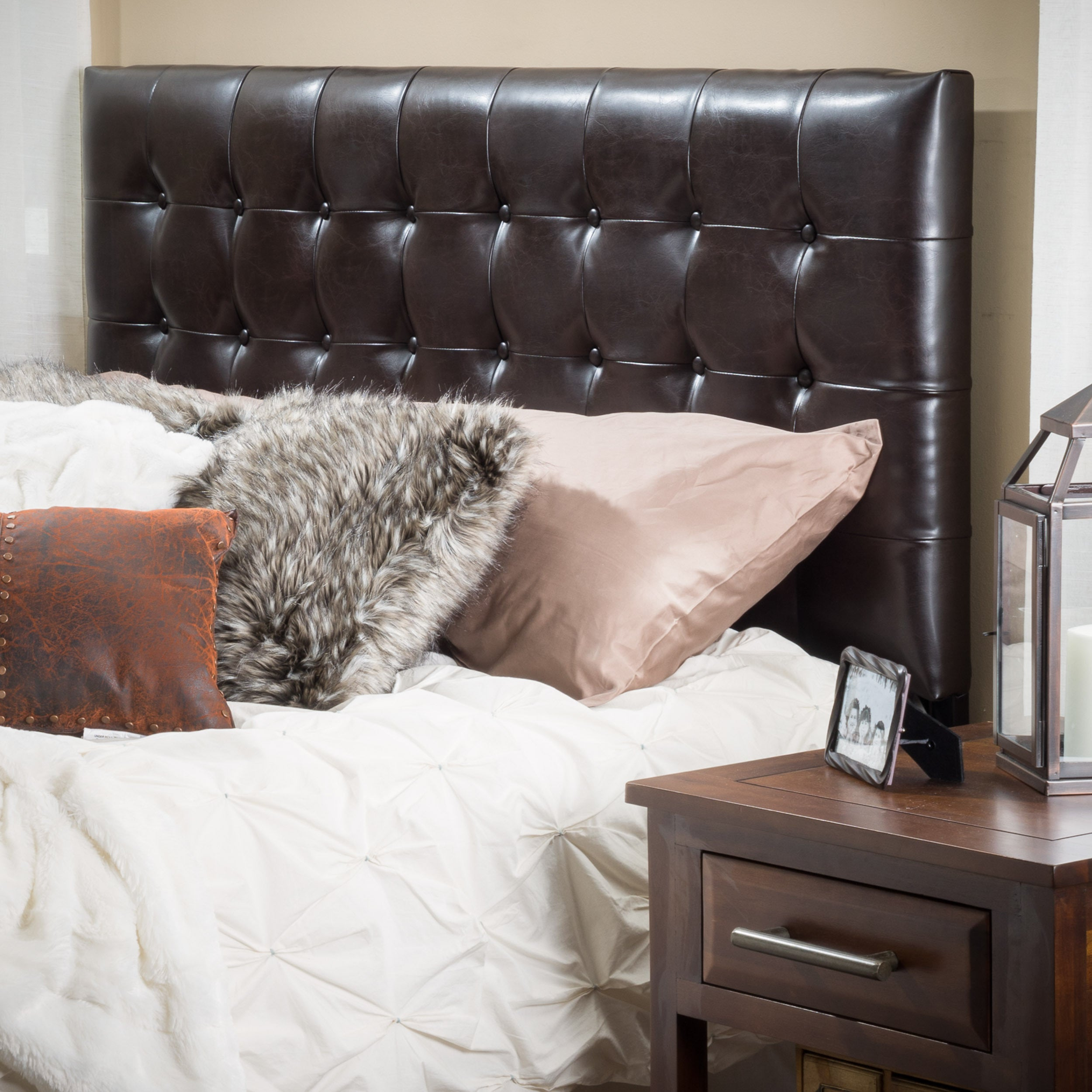 Knight Home Austin Tufted Bonded Leather King/Cal King Headboard ...