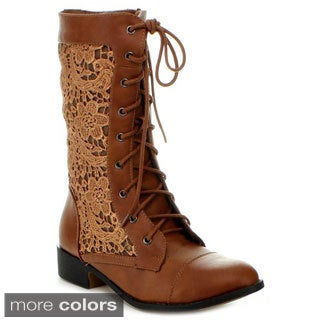 Top Moda Women's 'LA-30' Crocheted Mid-Calf Boots