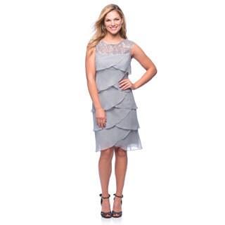 Alex Evenings Women's Silver Artichoke-pleated Cocktail Dress