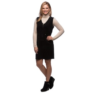 Live A Little Women's Black Corduroy Zip Front Dress