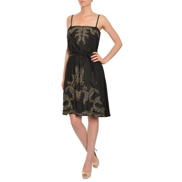 Emanuel Ungaro Women's Black Embroidered Silk Cocktail Dress