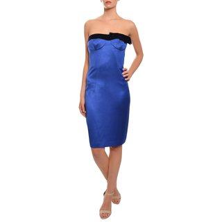 Escada Women's Royal Blue Silk Strapless Evening Dress