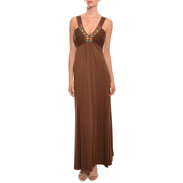 Laundry Women's Chocolate Beaded Jersey-knit Maxi Dress