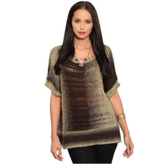 Feellib Women's Ombre Brown Boxy Knit Sweater