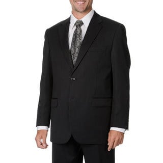 Cianni Cellini Men's Big & Tall Black Wool Gabardine Blazer