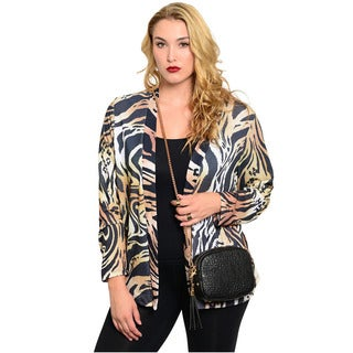 Feellib Women's Plus Size Animal Print Cardigan
