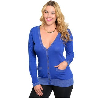 Feellib Women's Plus Size Blue Button-front Cardigan
