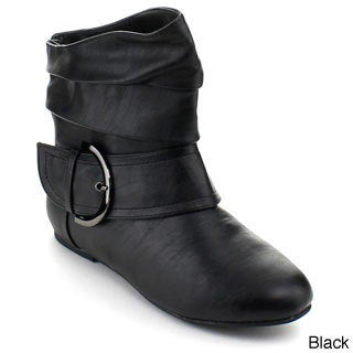 Top Moda Women's 'Pad-52' Black Slouched Buckle Boots