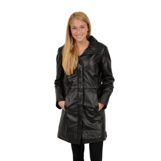 EXcelled Women's Black Leather Pencil Coat with Convertible Collar