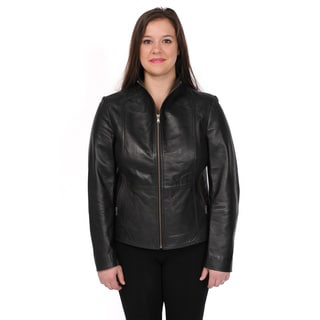 Excelled Women's Plus Size Lambskin Leather Fitted Scuba Jacket