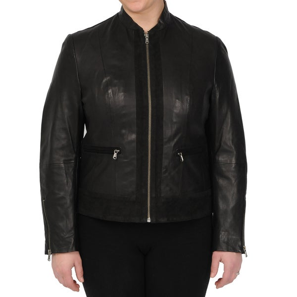 Excelled Women's Black Leather Fitted Scuba Jacket