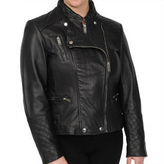 Excelled Women's Black New Zealand Lambskin Motorcycle Jacket