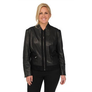 Excelled Women's Plus Size Black Leather Fitted Scuba Jacket