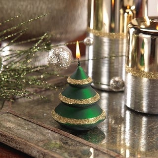 Christmas Tree Candle with Gold Glitter (Set of 6)