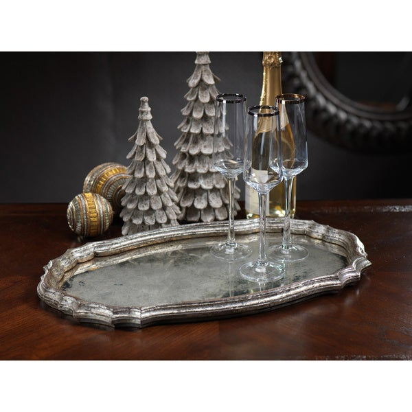 Oval Serving Tray with Antique Mirror