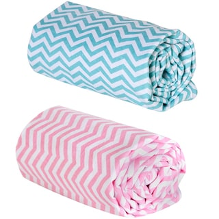 Trend Lab Pink and Mint Chevron Print Flannel Swaddle Blankets (Set of 2)