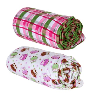 Trend Lab Pink Plaid and Owl Print Flannel Swaddle Blankets (Pack of 2)