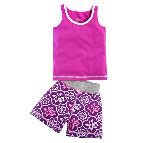 Tumblewalla Girl's Organic Rose Tank Little Lotus Short Set