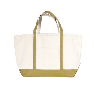 CB Station Large Cotton Canvas Green Boat Tote Bag
