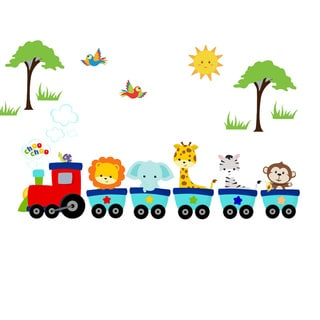 Jungle Safari Animal Train Woven Fabric Adhesive Wall Decal