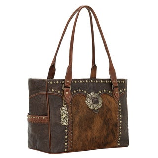 American West Chocolate/ Antique Brown Exotic Hair Carry-on Tote