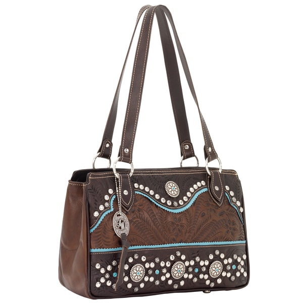 American West Chestnut/ Sky Blue Tote Handbag