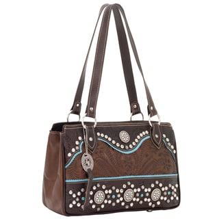 American West Chestnut/ Sky Blue Tote Handbag