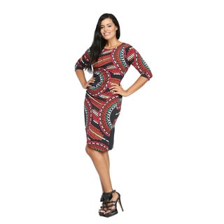 24/7 Comfort Apparel Women's Geometric Print Wrap Dress
