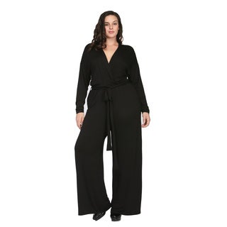 24/7 Comfort Apparel Women's Plus Size Deep V-neck Jumpsuit