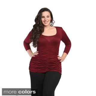 24/7 Comfort Apparel Women's Plus Size Shirred Top
