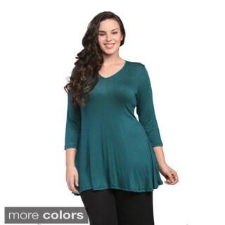 24/7 Comfort Apparel Women's Plus Size V-neck Tunic