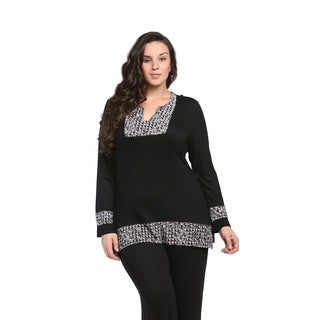24/7 Comfort Apparel Women's Plus Size Pattern-trimmed Tunic