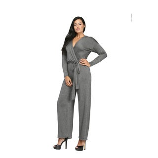24/7 Comfort Apparel Women's Deep V-neck Jumpsuit