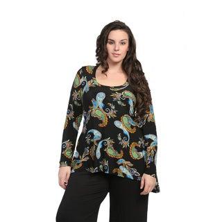24/7 Comfort Apparel Women's Plus Size Neon Paisley Tunic