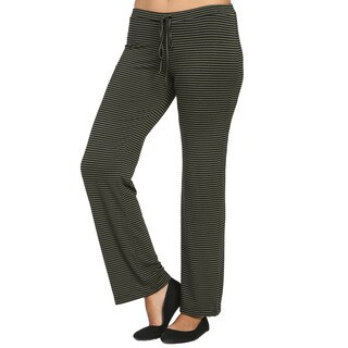 24/7 Comfort Apparel Women's Striped Drawstring Narrow Pants
