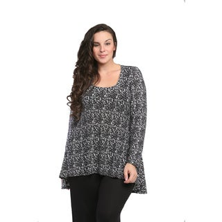 24/7 Comfort Apparel Women's Plus Size Black/ White Abstract Printed Tunic