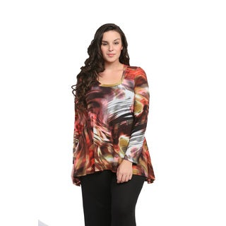 24/7 Comfort Apparel Women's Plus Size Rustic Watercolor Printed Tunic