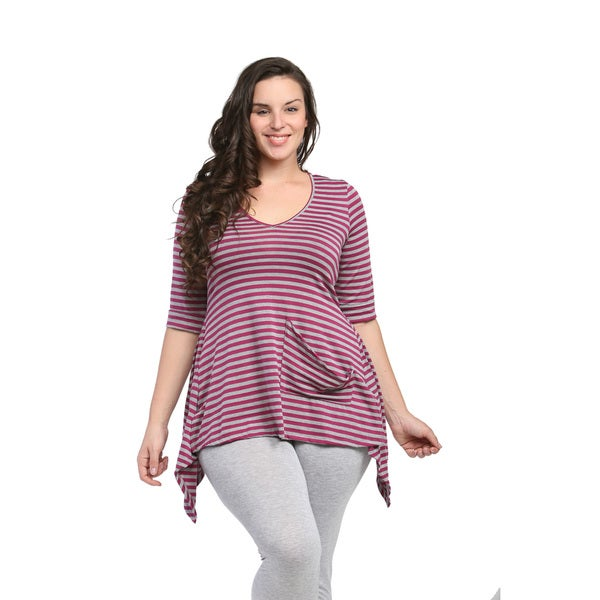 24/7 Comfort Apparel Women's Plus Size Magenta/ Grey Striped High-low Tunic