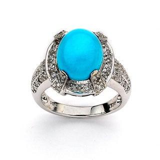 DFAC by Neda Behnam 14k White Gold 1ct TDW White Diamond Sleeping Beauty Turquoise Ring (H-I, SI1-SI2)