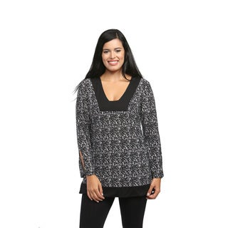 24/7 Comfort Apparel Women's Black and White Abstract Printed Tunic