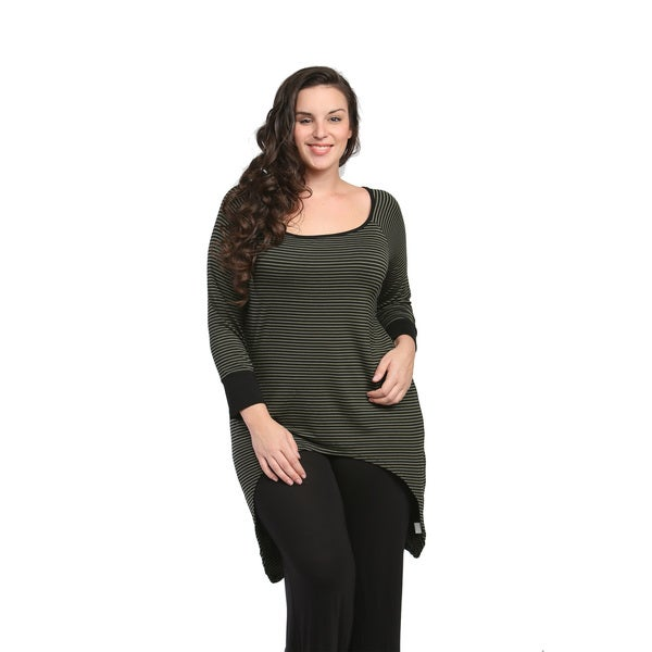 24/7 Comfort Apparel Women's Plus Size Striped High-low Extra Long Tunic