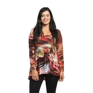 24/7 Comfort Apparel Women's Rustic Watercolor Printed Tunic
