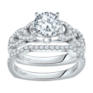 Valina Designer 14k White Gold Round Cut Diamond 2-piece Bridal Set