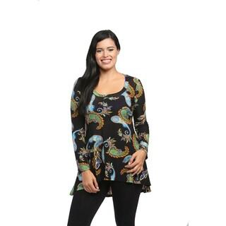 24/7 Comfort Apparel Women's Neon Paisley Printed Tunic